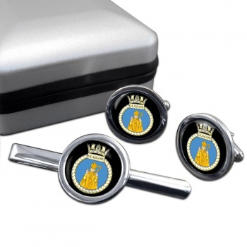 HMS Glasgow (Royal Navy) Round Cufflink and Tie Clip Set