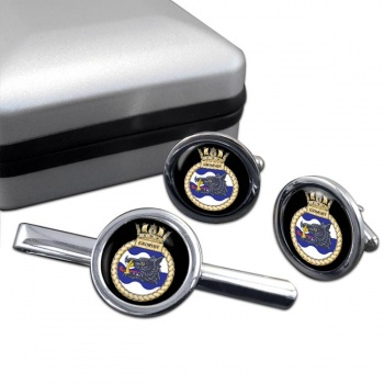 HMS Grimsby (Royal Navy) Round Cufflink and Tie Clip Set