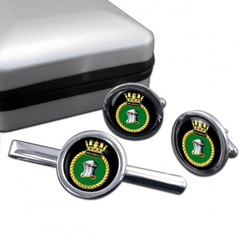 HMS Helmsdale (Royal Navy) Round Cufflink and Tie Clip Set