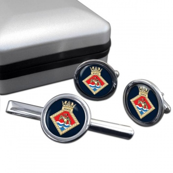 HMS Heron (Royal Navy) Round Cufflink and Tie Clip Set