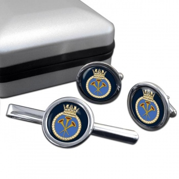 HMS Illustrious (Royal Navy) Round Cufflink and Tie Clip Set