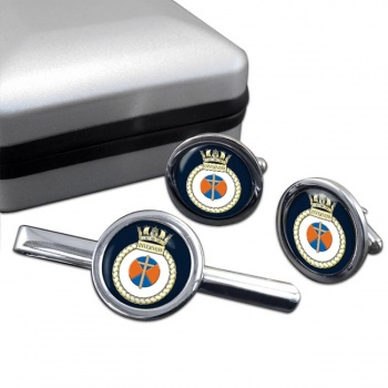 HMS Inverness (Royal Navy) Round Cufflink and Tie Clip Set