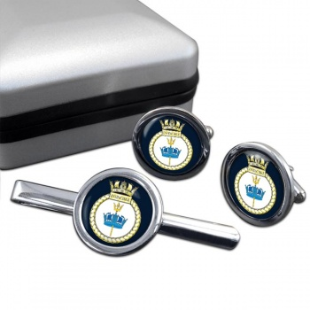 HMS Invincible (Royal Navy) Round Cufflink and Tie Clip Set