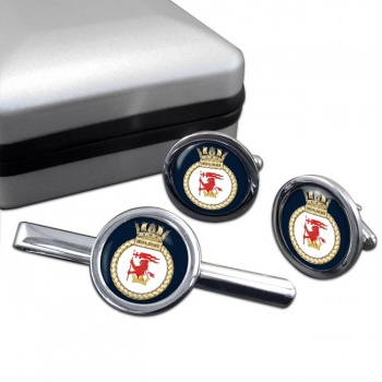 HMS Iron Duke (Royal Navy) Round Cufflink and Tie Clip Set