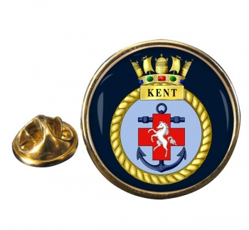 HMS Kent (Royal Navy) Round Pin Badge