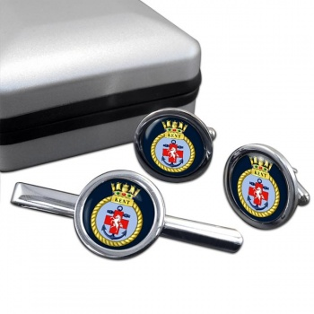 HMS Kent (Royal Navy) Round Cufflink and Tie Clip Set