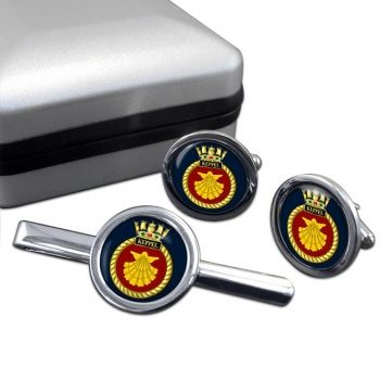 HMS Keppel (Royal Navy) Round Cufflink and Tie Clip Set