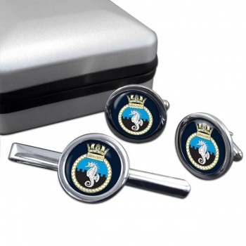 HMS Leeds Castle (Royal Navy) Round Cufflink and Tie Clip Set