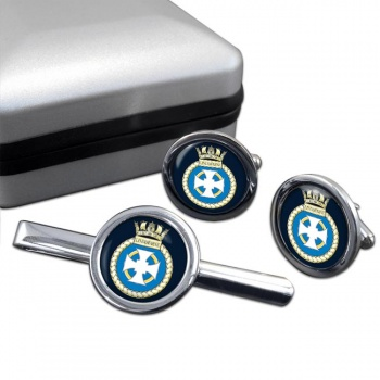 HMS Lindisfarne (Royal Navy) Round Cufflink and Tie Clip Set
