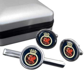 HMS Marlborough (Royal Navy) Round Cufflink and Tie Clip Set