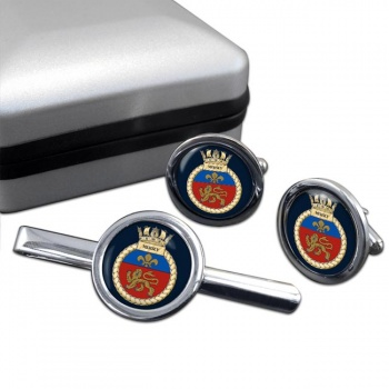 HMS Mersey (Royal Navy) Round Cufflink and Tie Clip Set