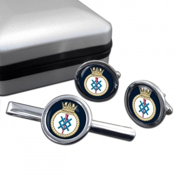 HMS Middleton (Royal Navy) Round Cufflink and Tie Clip Set