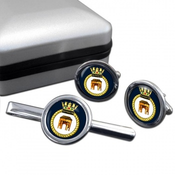 HMS Monmouth (Royal Navy) Round Cufflink and Tie Clip Set