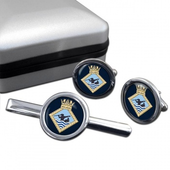 MWS HMTG (Royal Navy) Round Cufflink and Tie Clip Set