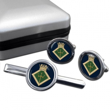 HMS Neptune (Royal Navy) Round Cufflink and Tie Clip Set