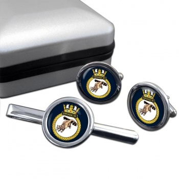 HMS Opossum (Royal Navy) Round Cufflink and Tie Clip Set