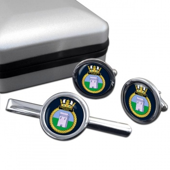 HMS Portchester Castle (Royal Navy) Round Cufflink and Tie Clip Set