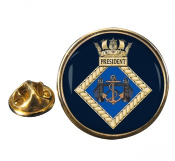 HMS President (Royal Navy) Round Pin Badge