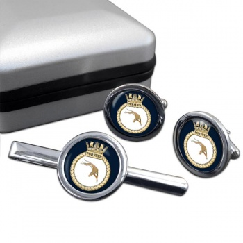 HMS Pursuer (Royal Navy) Round Cufflink and Tie Clip Set