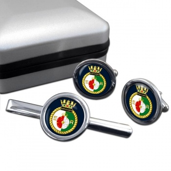 HMS Queen Elizabeth (Royal Navy) Round Cufflink and Tie Clip Set
