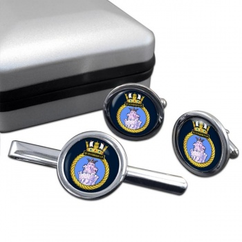 HMS Queenborough (Royal Navy) Round Cufflink and Tie Clip Set