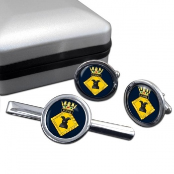 HMS Rooke (Royal Navy) Round Cufflink and Tie Clip Set