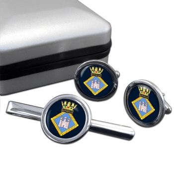 HMS Rothesay (Royal Navy) Round Cufflink and Tie Clip Set