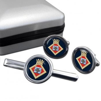 HMS Scotia (Royal Navy) Round Cufflink and Tie Clip Set