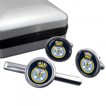 HMS Scotsman (Royal Navy) Round Cufflink and Tie Clip Set