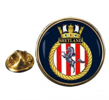 HMS Shetland (Royal Navy) Round Pin Badge