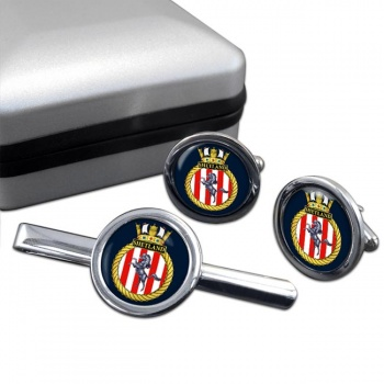 HMS Shetland (Royal Navy) Round Cufflink and Tie Clip Set