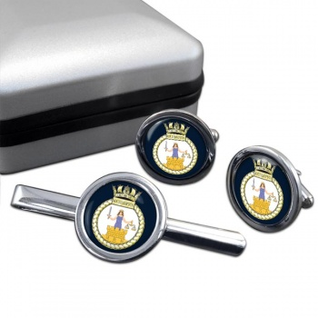 HMS Southampton (Royal Navy) Round Cufflink and Tie Clip Set