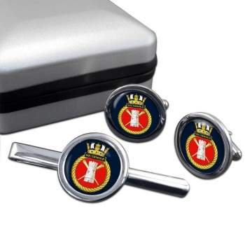 HMS Southwold (Royal Navy) Round Cufflink and Tie Clip Set