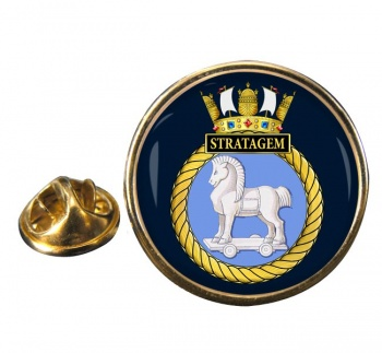 HMS Stratagem (Royal Navy) Round Pin Badge