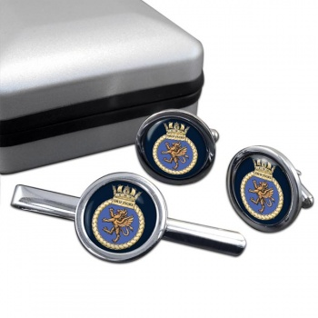 HMS Swiftsure (Royal Navy) Round Cufflink and Tie Clip Set