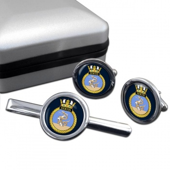 HMS Syrtis (Royal Navy) Round Cufflink and Tie Clip Set