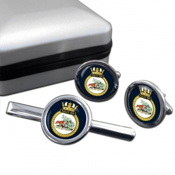 HMS Tally Ho (Royal Navy) Round Cufflink and Tie Clip Set