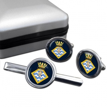 HMS Thetis (Royal Navy) Round Cufflink and Tie Clip Set