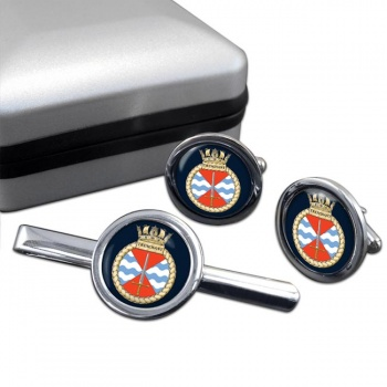 HMS Trenchant (Royal Navy) Round Cufflink and Tie Clip Set