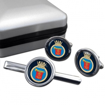 HMS Trumpeter (Royal Navy) Round Cufflink and Tie Clip Set