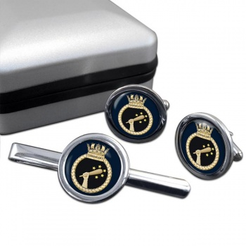 HMS Turbulant (Royal Navy) Round Cufflink and Tie Clip Set