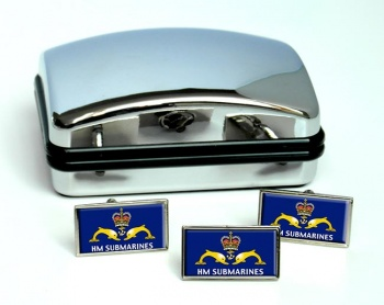 Royal Navy Submarine Service Rectangle Cufflink and Tie Pin Set