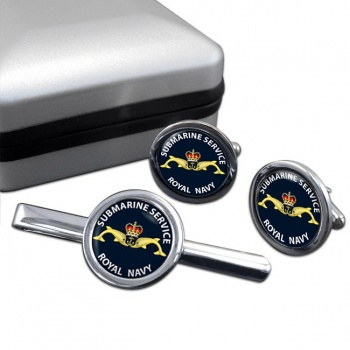 Royal Navy Submarine Service Round Cufflink and Tie Clip Set