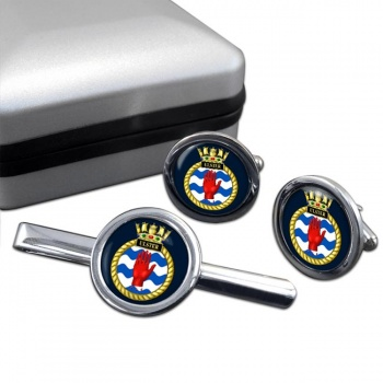 HMS Ulster (Royal Navy) Round Cufflink and Tie Clip Set