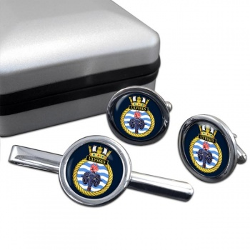 HMS Ulysses (Royal Navy) Round Cufflink and Tie Clip Set