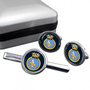 HMS Una (Royal Navy) Round Cufflink and Tie Clip Set
