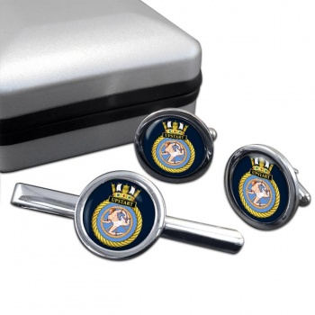 HMS Upstart (Royal Navy) Round Cufflink and Tie Clip Set