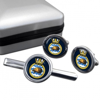HMS Urchin (Royal Navy) Round Cufflink and Tie Clip Set