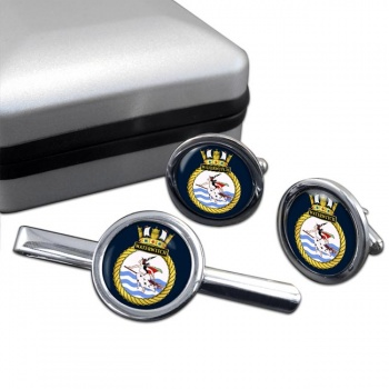 HMS Waterwitch (Royal Navy) Round Cufflink and Tie Clip Set