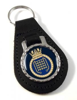 HMS Westminster (Royal Navy) Leather Key Fob